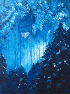 blå målning på flicka och skog